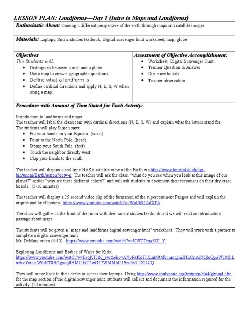 Worksheets Landforms Worksheet d1 landforms maps lesson plan map