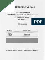 Kimia Seleksi ONMIPA Tingkat Wilayah 2015