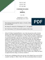 United States v. Rider, 261 U.S. 363 (1923)