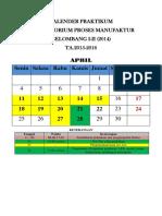 Kalender Praktikum Gel I-II (2014) Ta 2015-2016