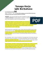Polemik Tenaga Kerja Asing Wajib Berbahasa Indonesia