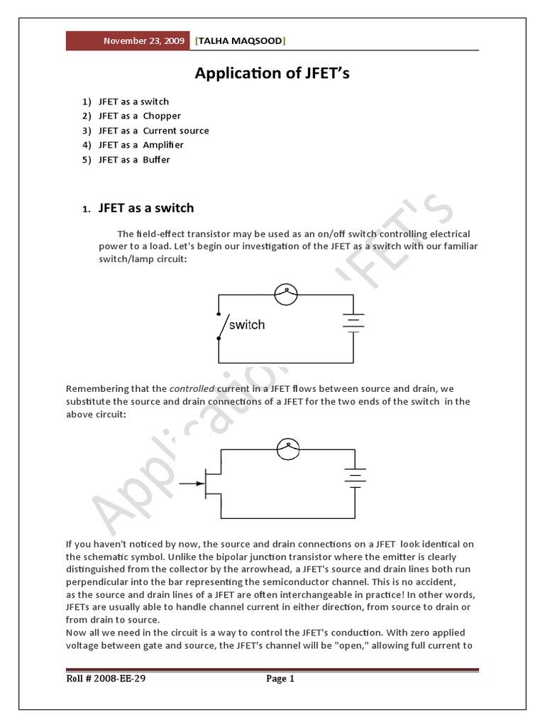 Application Of Jfet Field Effect Transistor Amplifier Current Source