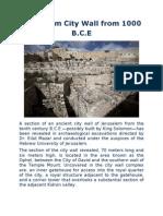 Jerusalem City Wall From 1000 B.C.E