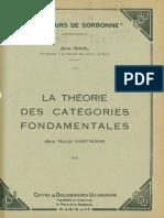 Jean Wahl La Theorie Des Categories Fondamentales Dans Nicolai Hartmann