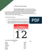 Belajar Nama Hari Dan Bulan Dalam Bahasa Inggris