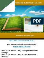 MGT 415 Professional Tutor