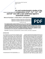 Spectrophotometric and conductometric studies of the thermodynamics complexation of Zn2+, Cu2 +, Co2 +, Ni+2 and Cd2+ ions with a new schiff base ligand in acetonitrile solution