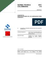 Especificacion de Agregados Para Concretos Ntc174