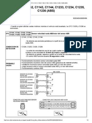 DTC C1141, C1142, C1143,   234, C1235, C1236 (ABS)
