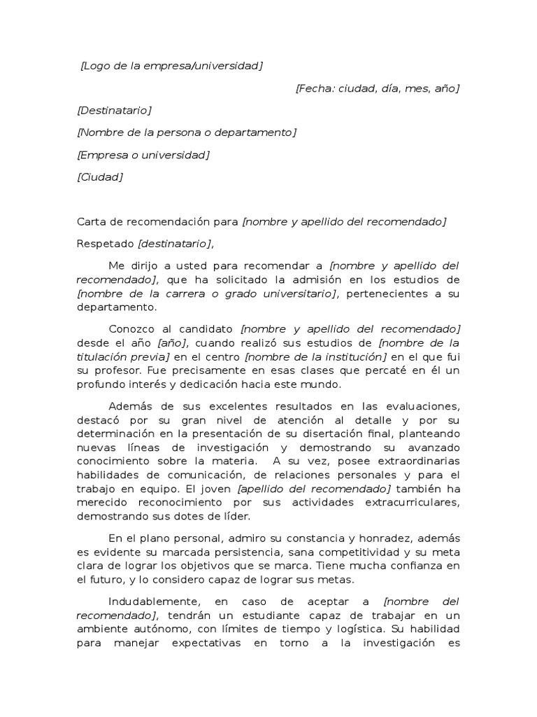 ejemplo de carta de recomendaci u00f3n acad u00e9mica para universidad