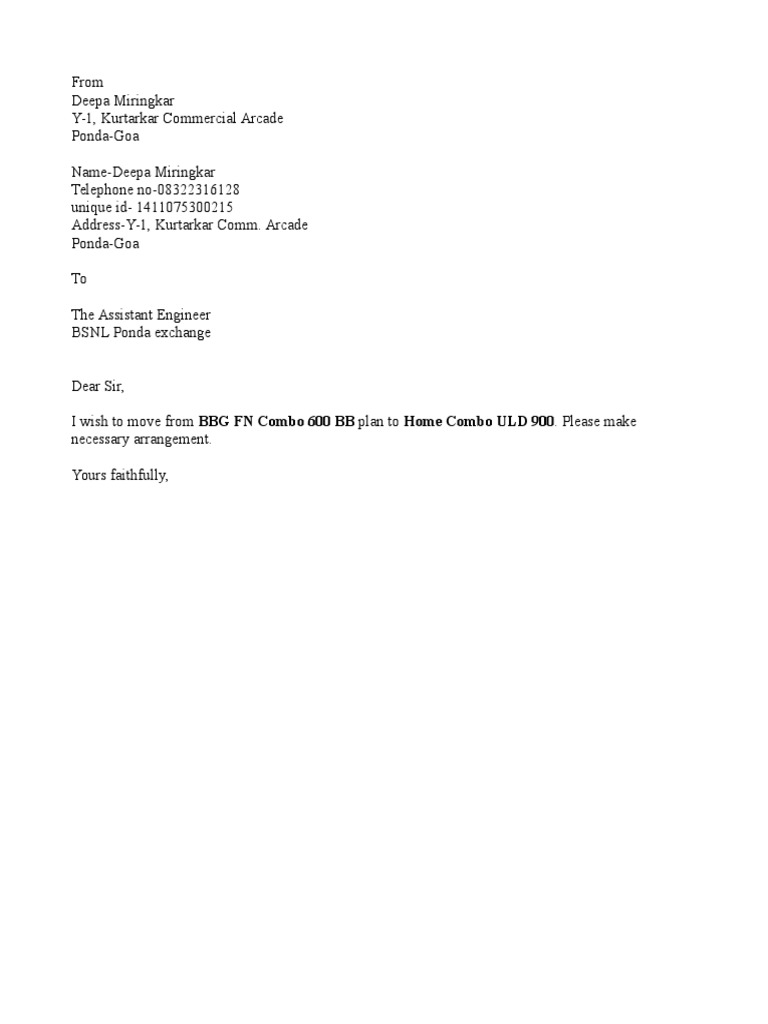 Application Letter To Change Broadband Plan BSNL Broadband