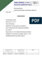 Especificaciones Materias Primas. Hidroxido de Sodio