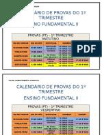 Calendário Das Provas