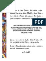 Invitacion-Analisis Meteorologico de Las Temperaturas y Precipitaciones en Bolivia Durante El Verano (2015-2016), Su Influencia en La Salud, Actividades Educativas, Agricultura y Otros-laquinua.blogspot.com