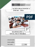 Evaluación diagnóstico MATEMÁTICA - 3°