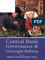 Central Bank Governance and Oversight Reform, edited by John H. Cochrane and John B. Taylor