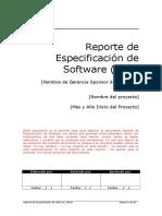Reporte de Especificación de Software (Modelo)
