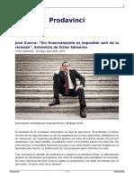 Jose Guerra Sin Financiamiento Es Imposible Salir de La Recesion Entrevista de Victor Salmeron