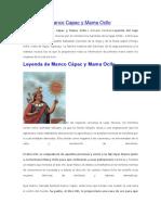 Historia de Manco Capac y Mama Ocllo