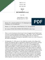 May v. Henderson, 268 U.S. 111 (1925)