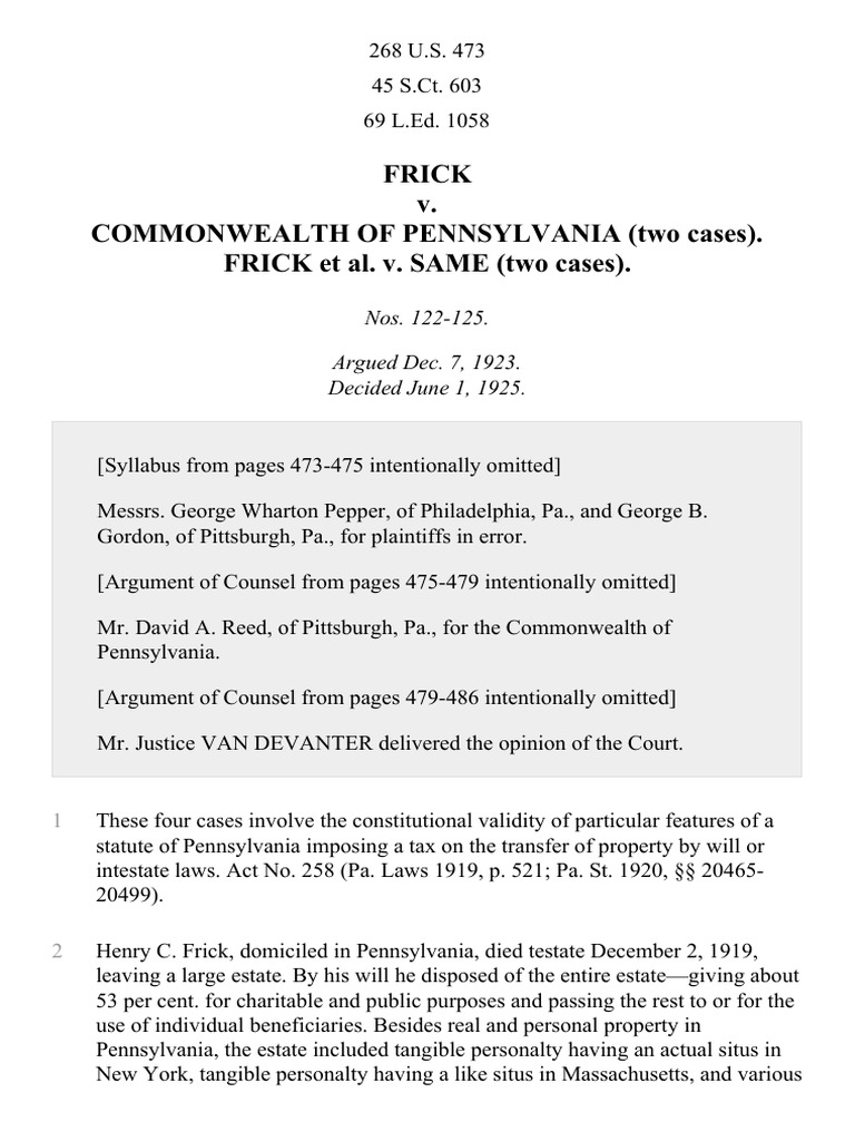 Commonwealth Of Pennsylvania Two Cases Frick V Same 268 US 473 1925