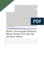 El Impacto Ambiental Provocado Por La Rotura de Dos Diques de Contención de Residuos de La Industria Minera en Minas Gerais
