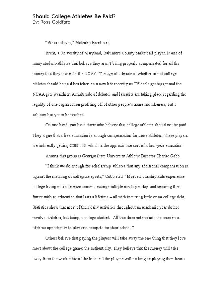 Argumentative essay paying college athletes