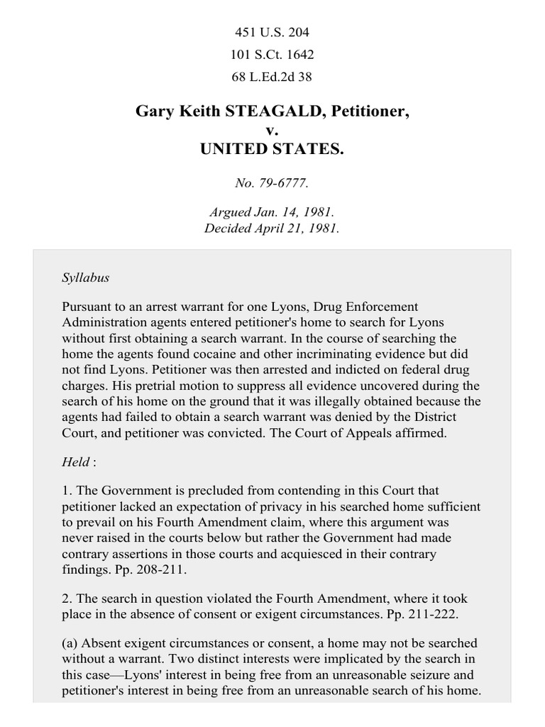 Gary Keith STEAGALD, Petitioner, v  United States : No  79-6777