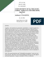 Department of Treasury, Bureau of Alcohol, Tobacco and Firearms v. Galioto, 477 U.S. 556 (1986)