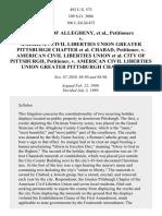 Allegheny County v. Greater Pittsburgh ACLU, 492 U.S. 573 (1989)