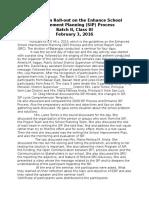 Orientation Roll on the Enhance School Improvement Planning (SIP) Process