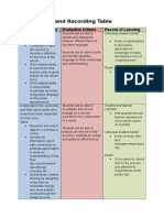 assessment and recording table