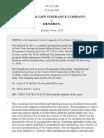New York Life Insurance Company v. Hendren, 92 U.S. 286 (1876)