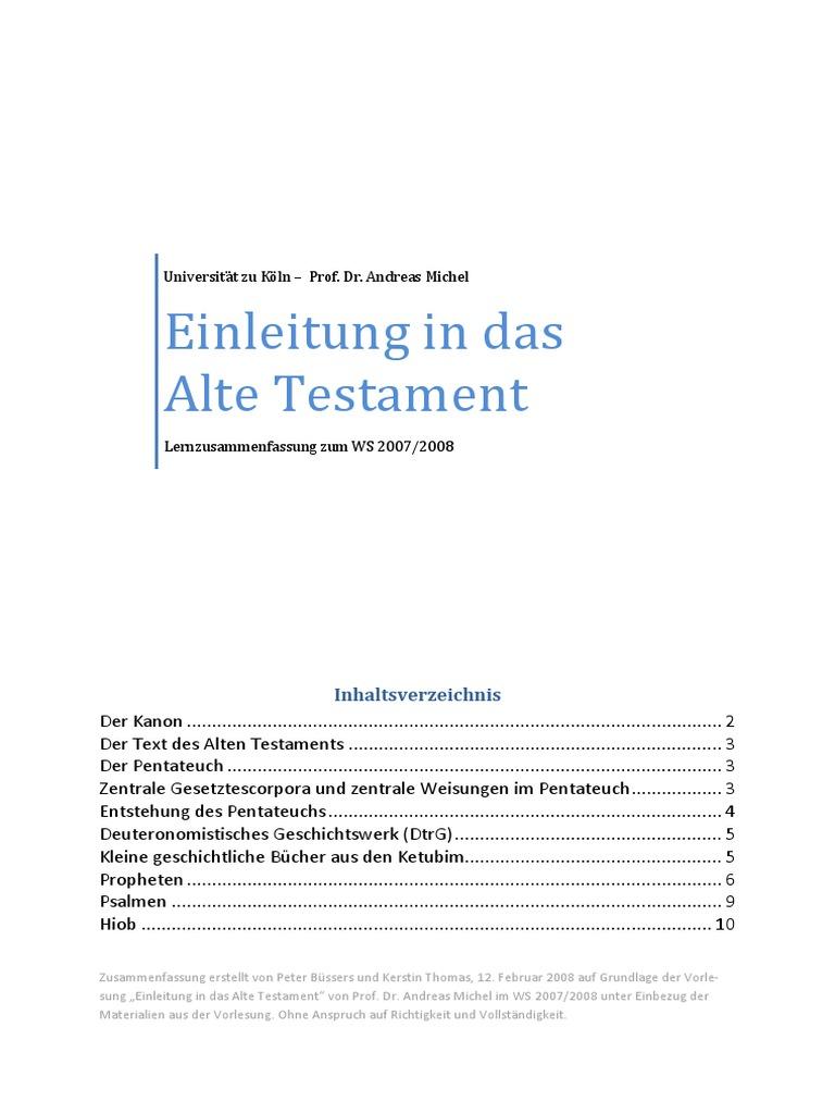 Einleitung In Das Alte Testamten Lernzusammenfassung