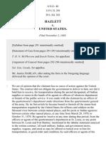 Hazlett v. United States, 115 U.S. 291 (1885)