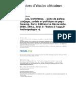 Casajus Gens de Parole. Langage, Poésie Et Politique en Pays Touareg Etudes Africaines-1471-165