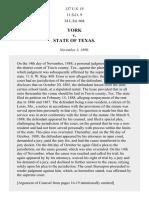 York v. Texas, 137 U.S. 15 (1890)