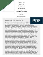 McAleer v. United States, 150 U.S. 424 (1893)