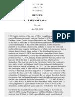 Hegler v. Faulkner, 153 U.S. 109 (1894)