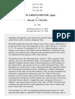 Greenameyer v. Coate, 212 U.S. 434 (1909)