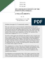 Equitable Life Assurance Soc. of United States v. Brown, 213 U.S. 25 (1909)