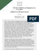 Cabrera v. American Colonial Bank, 214 U.S. 224 (1909)