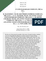 Atlantic Coast Line R. Co. v. Mazursky, 216 U.S. 122 (1910)