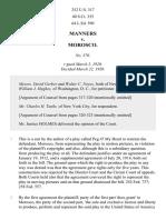 Manners v. Morosco, 252 U.S. 317 (1920)