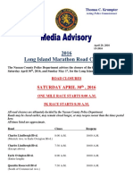 2016 Long Island Marathon Road Closures