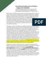 2008 Normas internacionales para la Práctica Segura de Anestesia
