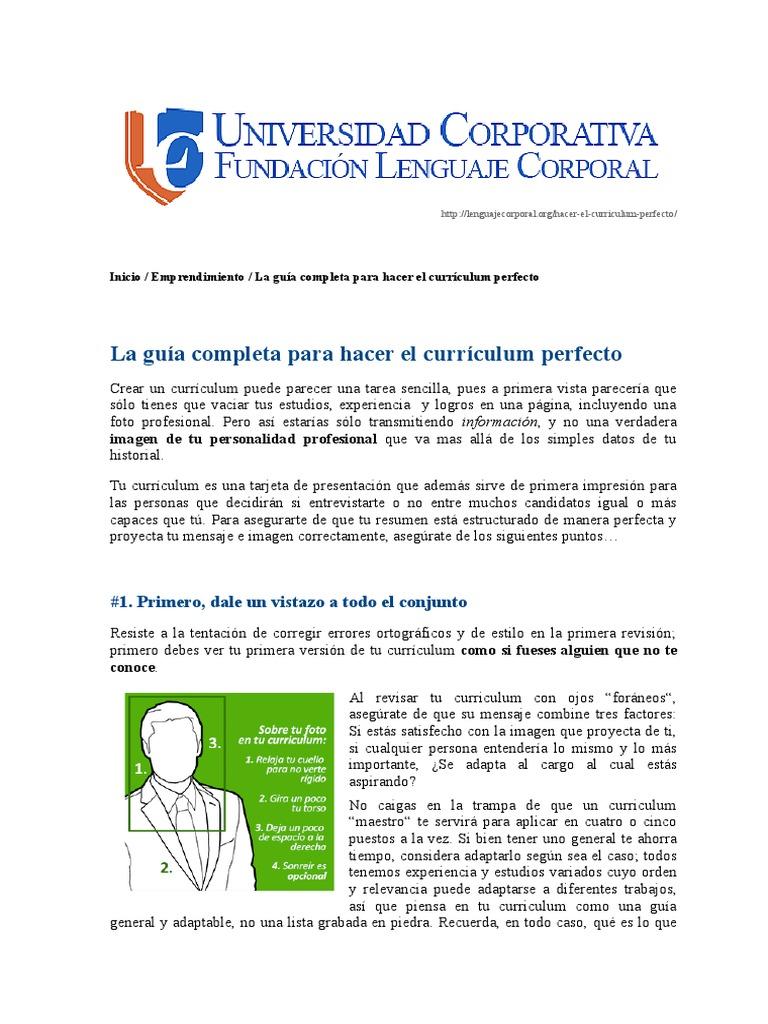 Guía Completa Para Hacer El Curriculum Perfecto - Universidad ...
