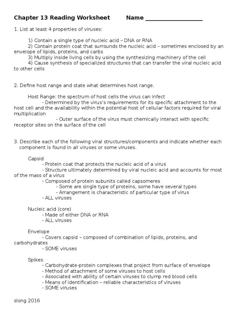 Chap 13 Reading Worksheet 16 Virus – Virus Worksheet