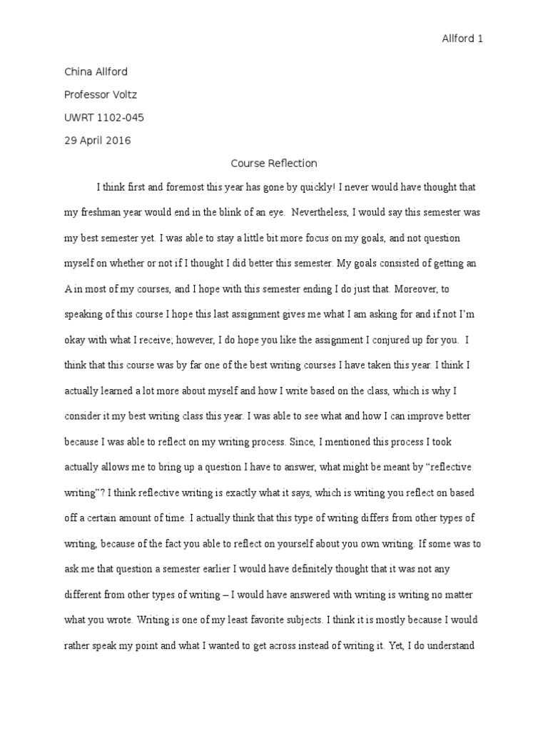 How to write a course reflection paper modelsim resume simulation