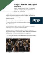 Conoce Las Reglas de FIBA y NBA Para Jugar Al Basquetbol